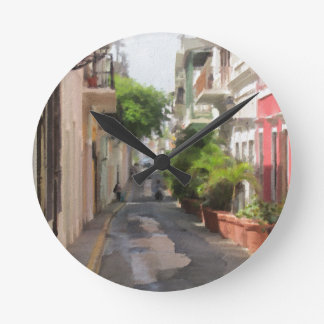 Quiet Little Street of Puerto Rico Round Clock