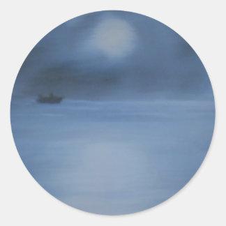 quiet ocean night alone classic round sticker