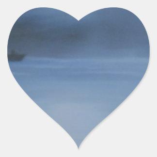 quiet ocean night alone heart sticker