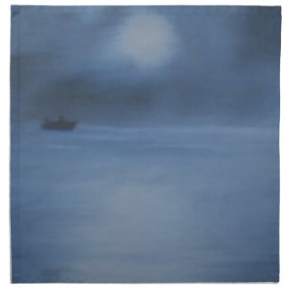 quiet ocean night alone napkin
