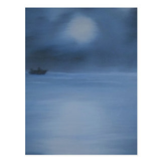 quiet ocean night alone postcard