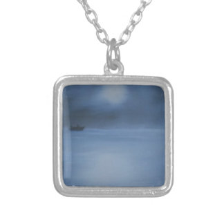 quiet ocean night alone silver plated necklace