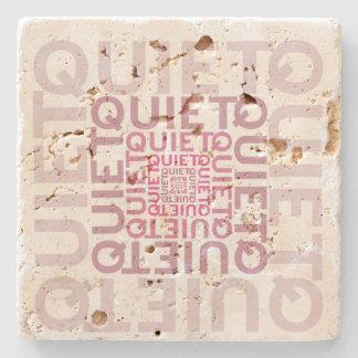 Quiet Pink Word Cloud Stone Beverage Coaster