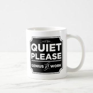 Quiet Please Genius At Work Basic White Mug
