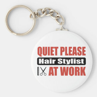 Quiet Please Hair Stylist At Work Key Ring