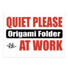 Quiet Please Origami Folder At Work Postcard