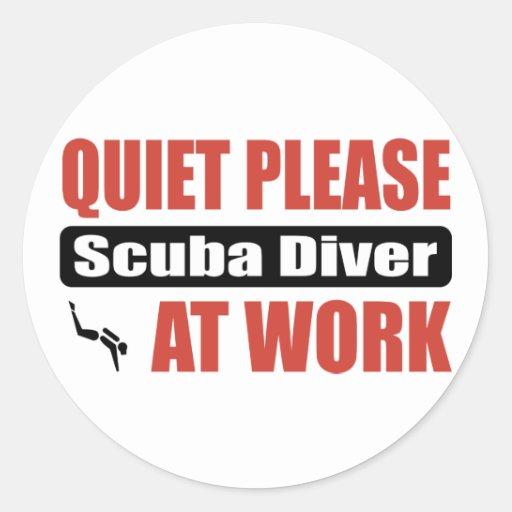 Quiet Please Scuba Diver At Work Sticker