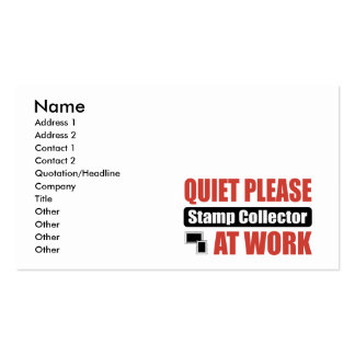 Quiet Please Stamp Collector At Work Business Cards