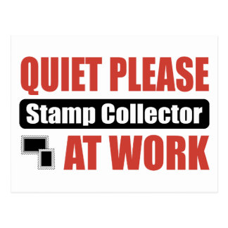 Quiet Please Stamp Collector At Work Postcard