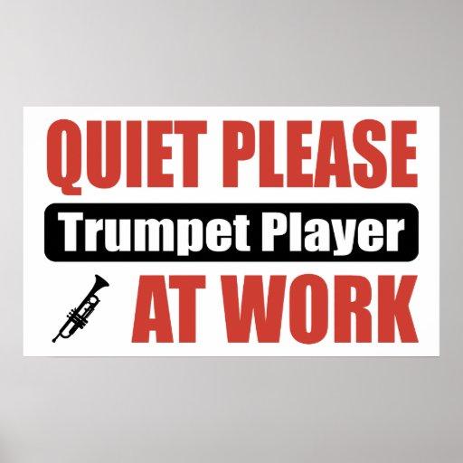 Quiet Please Trumpet Player At Work Print