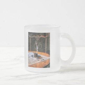 Quill and Spectacles Frosted Glass Mug