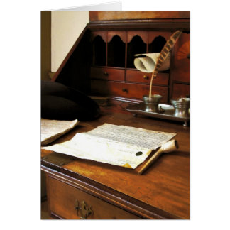 Quill, Papers and Pipe Greeting Card