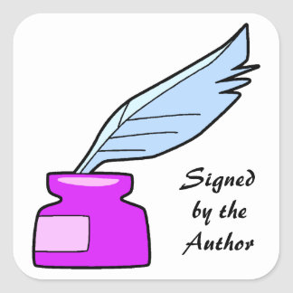 Quill Pen Signed by the Author Square Sticker