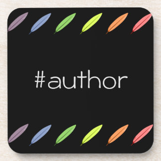 Quill pens and author hashtag coaster