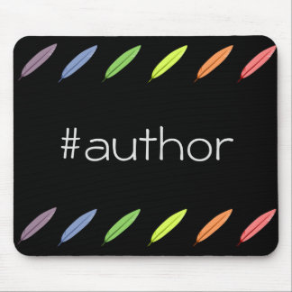 Quill pens and author hashtag mouse pad