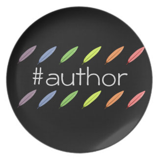 Quill pens and author hashtag plate