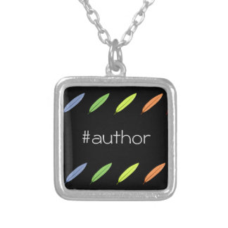 Quill pens and author hashtag silver plated necklace