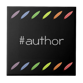 Quill pens and author hashtag tile