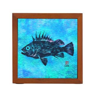 Quillback Rockfish on Blue - Desk Organiser