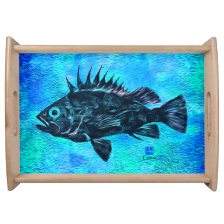 Quillback Rockfish on Blue - Large Serving Tray