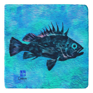 Quillback Rockfish On Blue - Marble Trivet