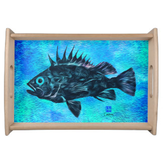 Quillback Rockfish on Blue - Small Serving Tray