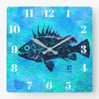 Quillback Rockfish On Blue - Square Wall Clock