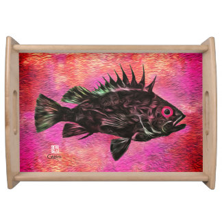 Quillback Rockfish on Pink - Large Serving Tray