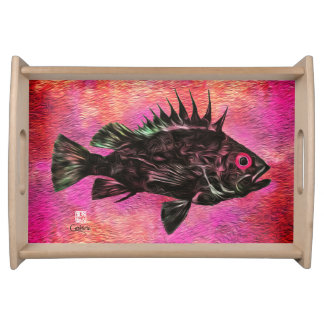 Quillback Rockfish on Pink - Small Serving Tray