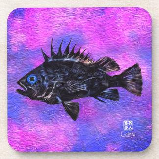 Quillback Rockfish On Purp - Hard Plastic Coasters