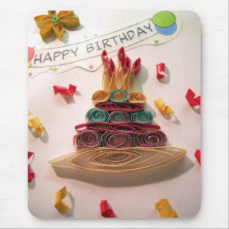 Quilling Birthday Cake Mouse Pad