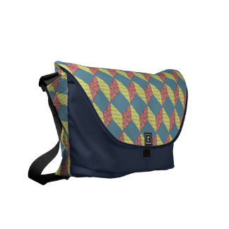 Quilt Baby Block Pattern in Retro Colors Courier Bag