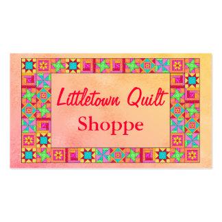 Quilt Block Border Colorful Patchwork Promotion Business Card Templates
