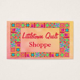 Quilt Block Border Colorful Patchwork Promotion Business Card