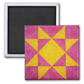 Quilt Block Magnets Star Pink