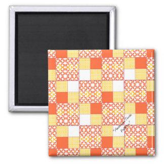 """Quilt Block Pattern """"Autumn Tints"""" Square Magnet"""