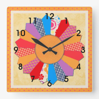 """Quilt Block Pattern  """"Dresden Plate"""" Square Wall Clock"""