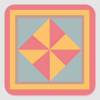 Quilt Block Sticker - Pinwheel (red, gold, & blue)