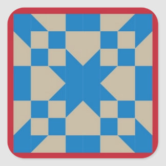 Quilt Block Sticker - Road to  Oklahoma (red/blue)