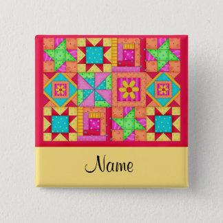 Quilt Blocks Name Button Badge