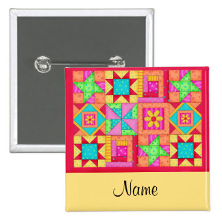 Quilt Blocks Name Button Badge
