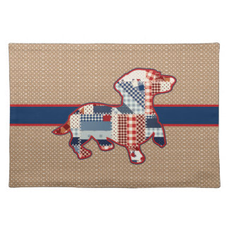 """Quilt Look Dachshund Placemats  20"""" x 14"""""""