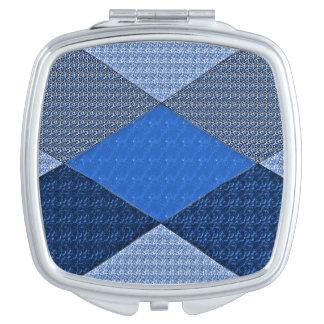 Quilt-Mock-Designer-Eloquence-Blue Compact Mirror
