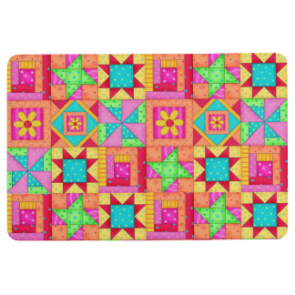 Quilt Patchwork Block Art Multi Color Home Decor Floor Mat