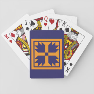 Quilt Playing Cards - Bear Paw Block (blue/gold)