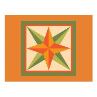 Quilt Postcard - Beveled Star (orange/green)