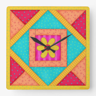 Quilt Red Turquoise Block Wall Clock
