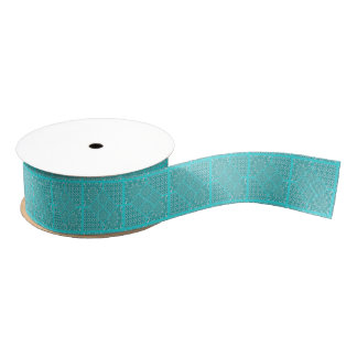 Quilt Square Design in Aqua Tones Grosgrain Ribbon