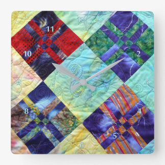 Quilt Squares In Batiks Wallclock