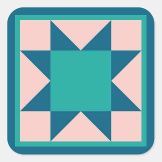 Quilt Sticker - Sawtooth Star (teal)